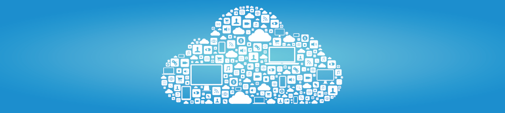 Cloud vector graphic with tech devices